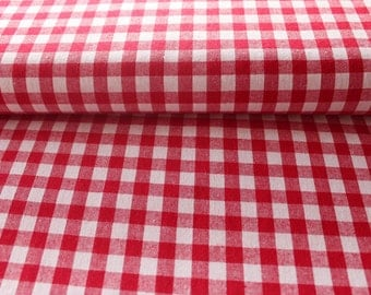 Cotton Plaid red and white 10mm