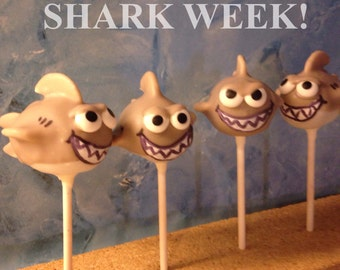 12 Shark Week inspired cake pops. JAWS, Great White, Beach theme, Surfer