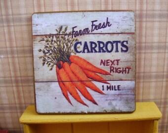 Farm Fresh Carrots Miniature Wooden Plaque 1:12 scale for Dollhouses