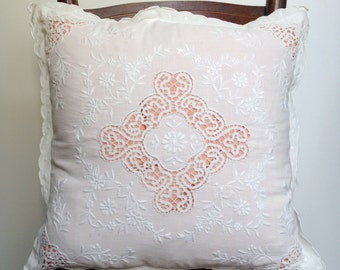 Vintage Pillow Case, Hand Embroided, Decorative Pillows, White Pillow Cover