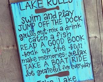 Lake Rules, Lake Sign, Lake Decor, Lake House Decor, Swim Sign, Oars, Lake Decoration, Lake House Decoration, Customize