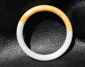 Natural Jadeite Bangle, Yellow and White Grade A, Vintage, 55mm