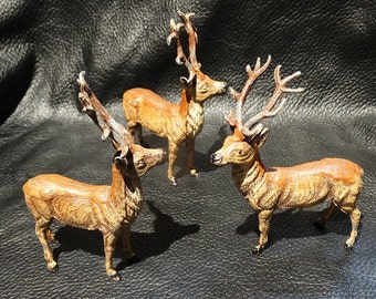 Miniature Stag Trio with Antlers, Handpainted, Vintage, German, Deer