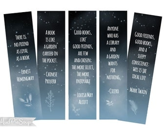 Printable Bookmarks - Inspirational Book Quotes Starry Night Bookmark / Instant Download