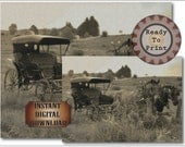 Wild West Horse and Carriage Digital Fine Art Photo Set of 2 Steampunk Vintage Images Aged Sepia Farm Barn Prairie Draught Horse Team Buggy