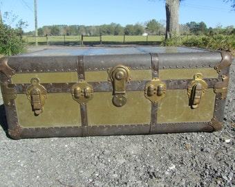 Military Trunk, shabby chic Box, storage chest, trunk, Cottage Decor, World War 2 Trunk, Rustic Decor