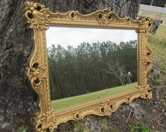 Shabby chic mirror, large mirror, ornate mirror,antique gold mirror, mirror, shabby chic decor,wedding.traditioal style mirror,