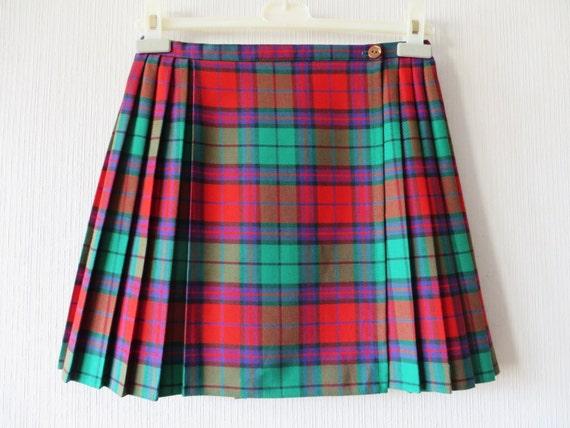 tartan plaid skirt vintage pleated mini skirt checkered mini