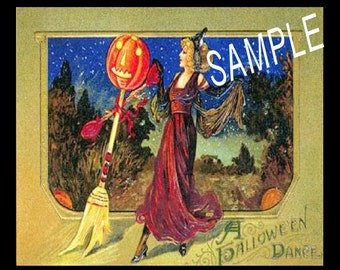 Halloween Vintage Look Postcard Label-Label for Witches-Bottles, Jars, Boxes, Books, Journels or Tags, INSTANT DOWNLOAD
