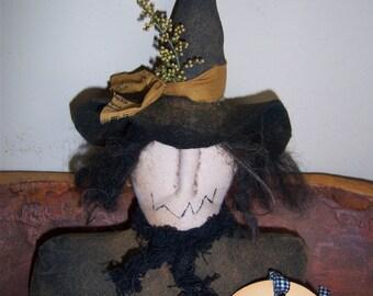 Primitive HC Halloween Witch Shelf Sitter Ornie Bowl Filler Tuck