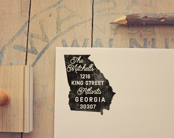 Georgia Return Address State Stamp - Personalized Rubber Stamp