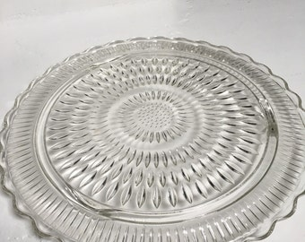 Vintage Large Glass Cake Plate