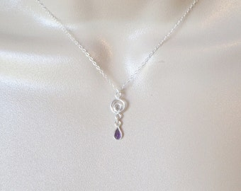 Amethyst Necklace, Sterling Silver Necklace, Silver and Amethyst Necklace, Birthstone Jewelry, Birthstone Necklace, Christmas Gifts, Gifts
