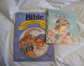 My Little Golden Book About GOD by Eloise Wilkin and Children's Bible Coloring Book   - JuneMoon10%Off