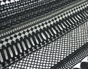 Black Judy Pattern Chemical Lace Fabric by the Yard - Style 664