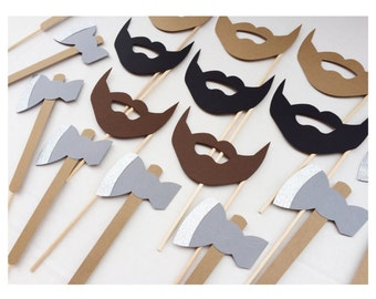 Lumberjack Photo Booth Props ; Bachelorette Party Props ; Ax and Beards ; Beard Birthday Party Props