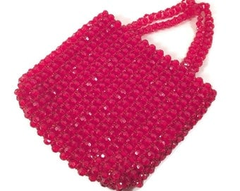 Vintage La Regale Handbag - Vintage Red Beaded Handbag - Vintage Wristlet
