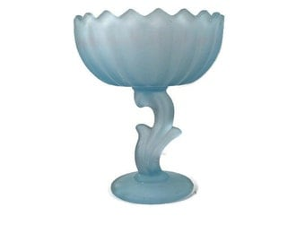 Blue Frosted Glass Lotus Compote by Indiana Glass