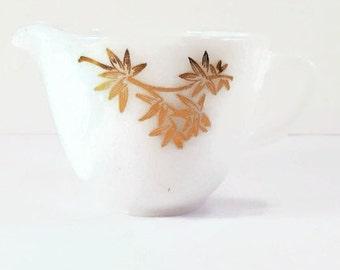 Vintage Federal Milk Glass Creamer with Gold Flower Design