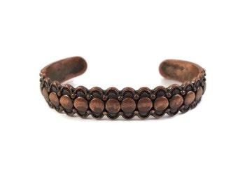 Vintage Native American Copper Bracelet- Solid Copper Cuff Bracelet