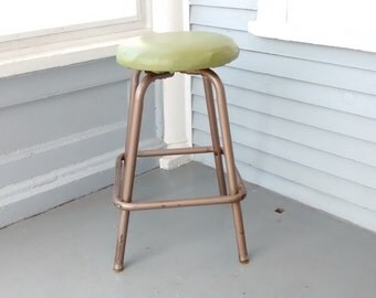 Vintage, Stool, Bar Stool, Shop Stool, Upholstered, Metal, Round, Tan, Green, Mid Century, Industrial, RhymeswithDaughter