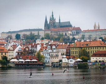 The Vltava and buildings in Malá Strana, in Prague, Czech Republic - Photography Fine Art Print or Wrapped Canvas