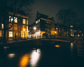 Bridge over a canal at night, in Amsterdam, Netherlands - Photography Fine Art Print or Wrapped Canvas