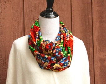 Brightly Colored Graphic Infinity Scarf in Cotton Blend Poplin
