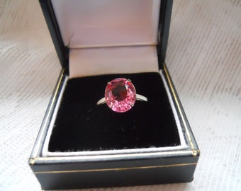 Vintage 18K GF with Faceted Pink Glass Ring Size 5.5