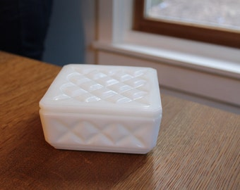 Milk Glass Jewelry, Box, Trinket, Powder Box With Diamond Pattern Vintage