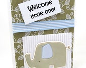 Welcome Little One - New Baby Card - Congratulations on New Baby - Baby Shower - Elephant and Hippo - Blank Card - Light Blue - Sage Green