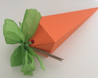Easter Gift Box Carrot Shaped Box Complete with Green Paper Ribbon & Easter Bunny Tag