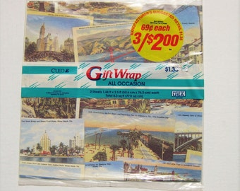 Vintage postcard wrapping paper. Postcard gift wrap. Two sheets. Gibson Greetings Co., Cleo Inc. Travel. Old photographs
