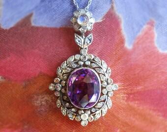 Vintage 1950's 4.10ct t.w. Amethyst, Rose Cut Diamond, Moonstone Pendant Sterling