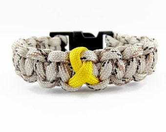 military paracord bracelet camo and yellow ribbon bracelet patriotic military bracelet support our - Support Our Troops Silicone Bracelet