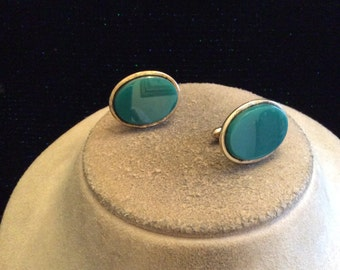 Vintage Mens Blue Glass Cuff Links