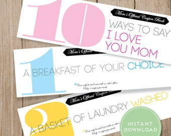 Mom Coupon Book Printable. Mothers Day Coupon Book. Mothers Day Card. Mom Love Coupon. Mom Birthday Coupon Book. Instant Download