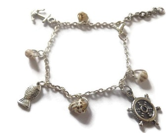 Seaside Charm Bracelet, Handmade Jewelry, One of a Kind, Shell, Nautical, Seaside, Gifts for Her, Unique Gifts, Holiday Memories,