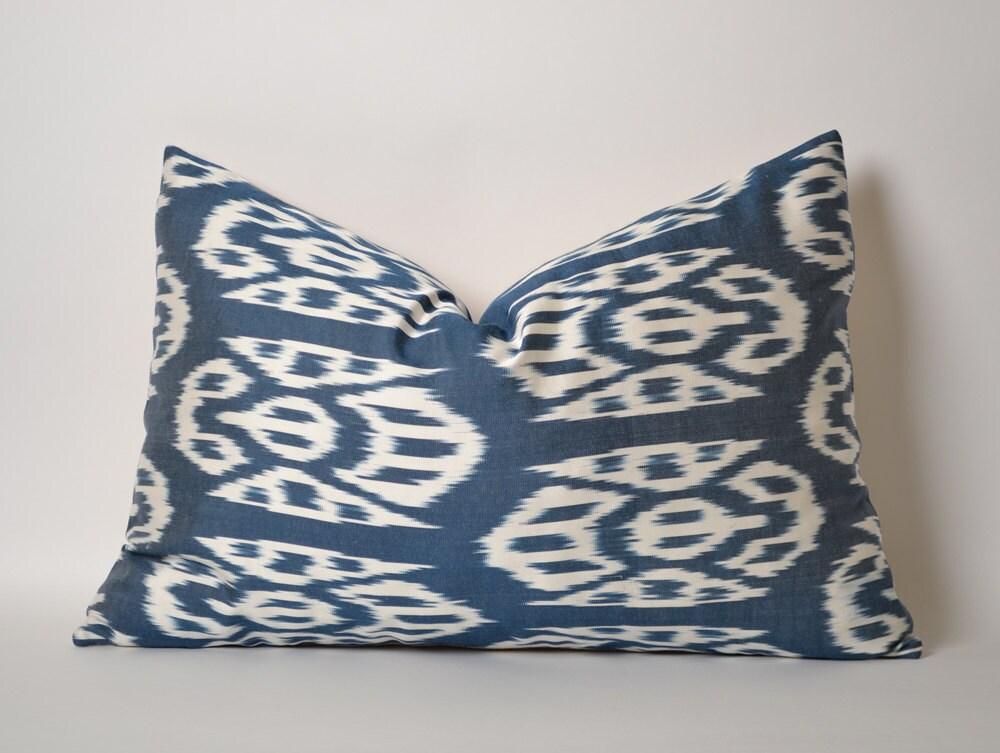 White Blue Silk Ikat Pillow Cover Blue Silk Ethnic Throw