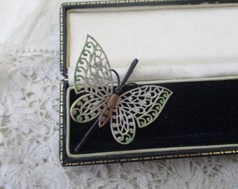 Filigree butterfly barette 1930's