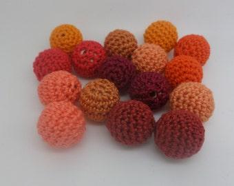 16 beads crochet orange colour (1.7 cm)