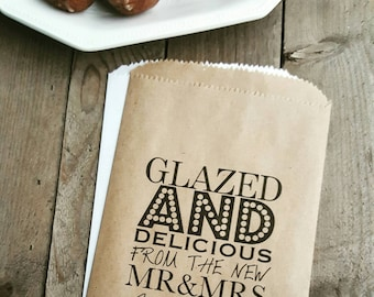 Wedding Favor Bags - Glazed and Delicious-Personalized Favor Bags/ Donut Favor Bags