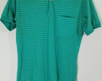 Vintage 80s Teel Green Striped Polo Size Small