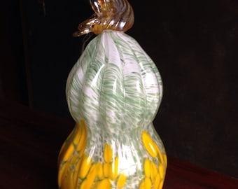 Hand Blown Glass Gourd - White, Green, & Yellow with Iris Stem