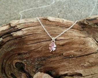 Tiny sterling silver shamrock necklace, silver clover, small silver necklace, shamrock pendant, 4 leaf clover necklace