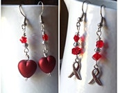 Red Earrings-Awarenesss-Heart Charms-Heart Disease-Vasculitis-Substance Abuse-Epidermolysis Bullosa-HIV-AIDS-Valentine Day-Christmas-Holiday