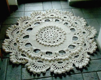 Crochet rug, crochet carpet ,doily lace  rug, knitted carpet, knitted rug 48 inc