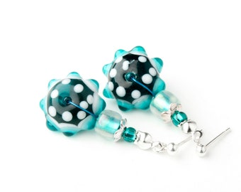 CORALLIA'S Exclusive malachite color earrings - lampwork glass