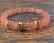 Buddha, with matte pink Cats Eye and pink rondelle bracelet, lucky Buddha, spiritual jewelry, wealth, gifts for her