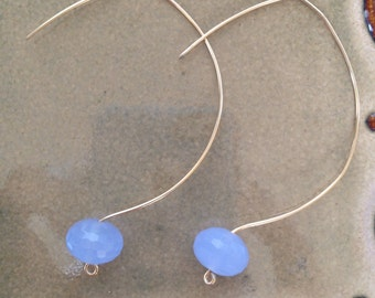 Blue crystal and Gold filled Wire Earrings
